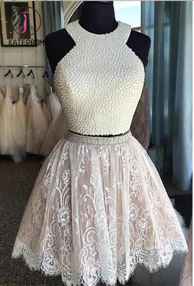 Two Piece Short White Lace Homecoming Dress with Pearls,Mini Dresses,Short Prom Dress KPH0102