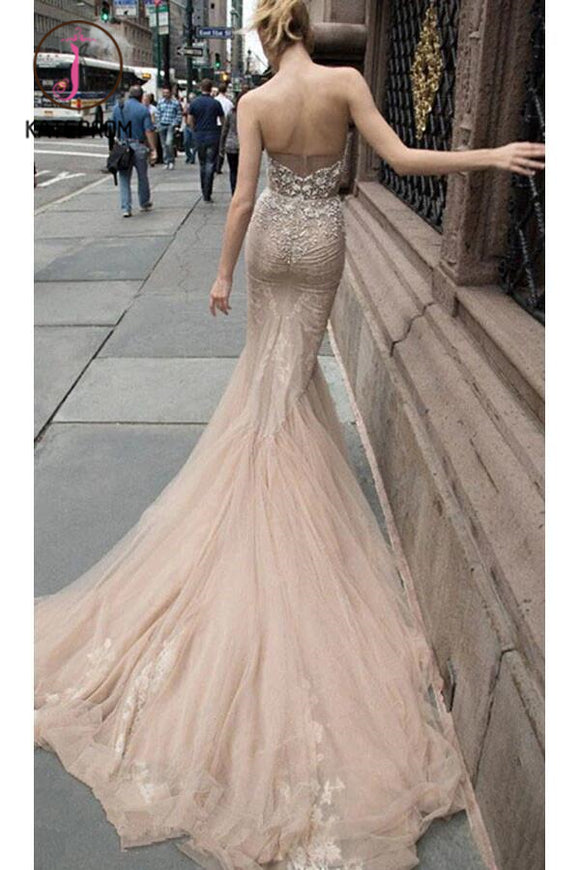 Beaded Illusion Strapless Sweetheart Sexy Party Prom/Evening Dresses KPP0132