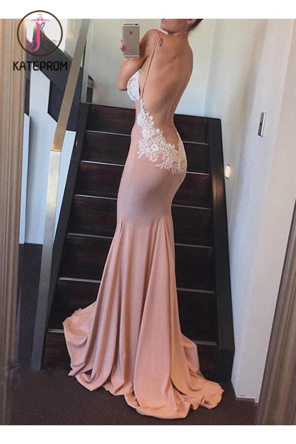 Mermaid V-neck Backless Long Bridesmaid Dress,Party Dresses KPB0066