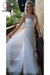 White Sequin Shiny Long Chiffon Prom Dresses,Beading Prom Dress,Sexy School Dancing Dress KPP0137
