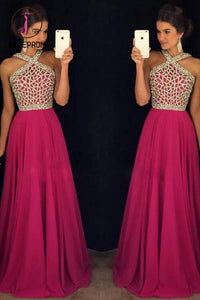 Rose Red Beaded Long Prom Dress for Teens,A line Chiffon Formal Dress KPP0140