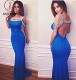 Royal Blue Off Shoulder Backless Mermaid Rhinestone Jersey Prom Dresses KPP0143