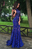 Royal Blue Jewel Sweep Train Lace Backless Mermaid Prom Dress with Beading KPP0144
