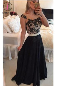 Sheer Lace Black Chiffon Backless Prom Gowns,Capped Sleeves Pearls Belt Evening Gowns KPP0145