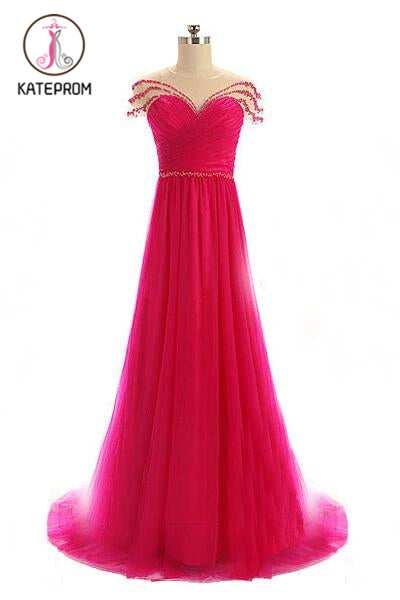 Sexy A line Beading Prom Dresses,Tulle Prom Dress,Long Evening Dress KPP0148