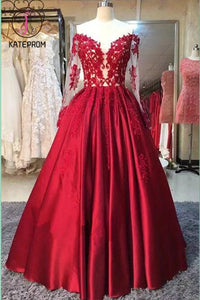 Long Sleeve Dress,Ball Gowns,Red Stain Prom Dresses with Appliques,Wedding Party Dress KPP0150