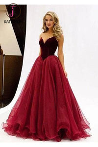 Sexy A line V-Neck Prom Dress,Noble Strapless Evening Dress,Organza Prom Dresses KPP0155
