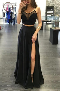 Spaghetti Straps Prom Dresses,Black Prom Dress,Two Pieces Floor Length Party Gown KPP0157