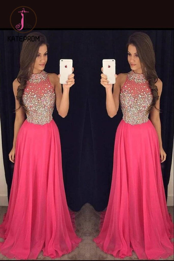 Gorgeous High Neck Prom Dress With Beads,Graduation Chiffon Formal Dress For Teens KPP0159