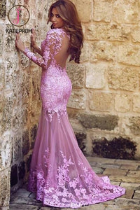Sexy Mermaid Long Sleeves Tulle Appliques Prom Dresses,Backless Prom Dress KPP0161