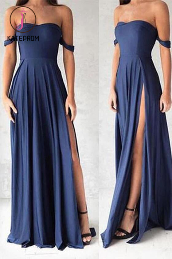 Sexy Side Slit Off Shoulder Prom Dresses,Cheap Prom Gowns,Long Evening Gowns KPP0164