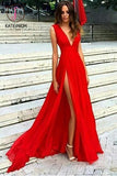 Split V-neck Red Evening Dress,Sexy Party Dresses with V Back,Sleeveless Chiffon Prom Dresses KPP0165