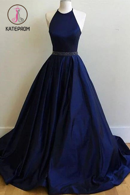Dark Blue Halter Prom Dresses,Ball Gowns Graduation Dresses,Formal Dress For Teens KPP0166