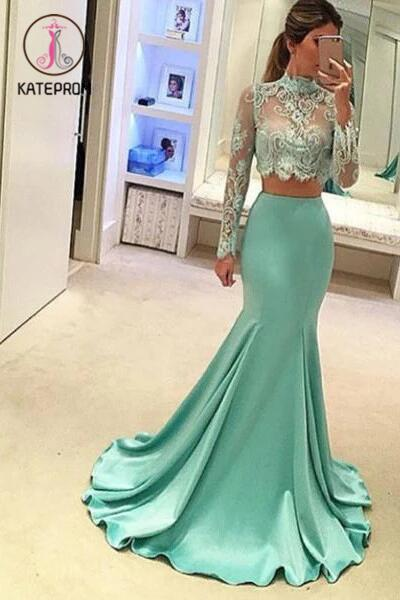 Two Pieces High Neck Long Sleeve Lace Prom Dresses,Sexy Mermaid Evening Dress KPP0168