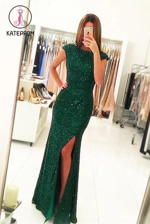 Sexy Side Slit Cap Sleeves Emerald Green Sequins Open Back Mermaid Evening Gowns KPP0172