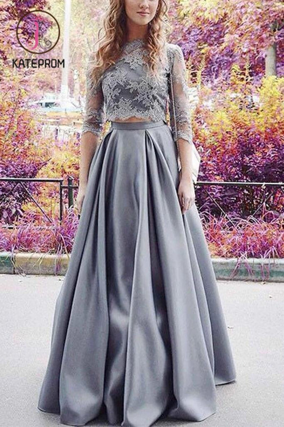 Modest Half Sleeves Prom Dress,Two Pieces Lace Crop Prom Dress,2 Pieces Sexy Prom Dress KPP0174