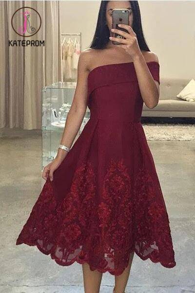 Sexy Tea Length Asymmetric Neck Prom Gowns,Lace One Shoulder Prom Gown KPP0177