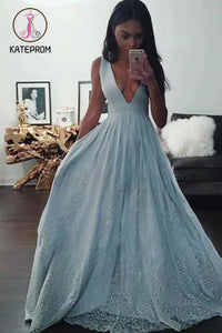 A-line Sleeveless Deep V-neck Long Prom Dresses,Light Blue Formal Dress with Lace KPP0184