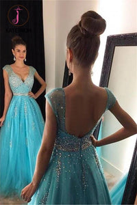 V-neck Cap Sleeves Beading Evening Dress,Sexy Backless Long Tulle Evening Dresses KPP0185