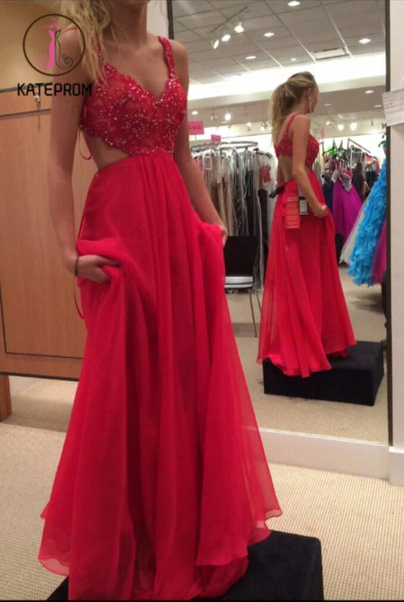 Spaghetti Strap Red Prom Gown,Chiffon Backless Formal Gown,Beading Prom Dress KPP0192