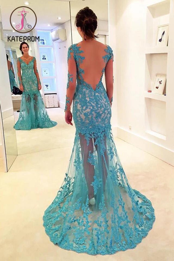 Gorgeous Mermaid V-neck Prom Gown,Long Sleeves Prom Dress with Lace Appliques KPP0193