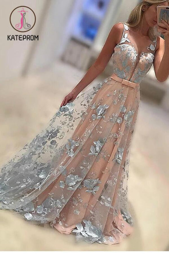 A-Line Sleeveless Prom Gown,Lace Appliques Sweep Train Coral Evening Dress with Bowknot KPP0195