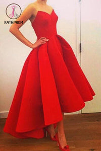 Red Sweetheart Prom Dresses,High-low Strapless Prom Gown,Red Formal Dress With Ruffles KPP0196
