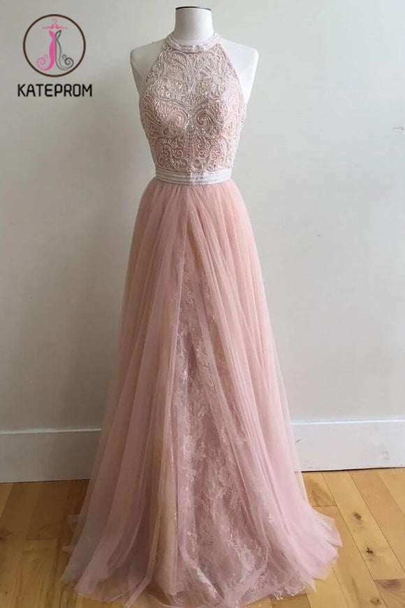A-Line Halter Pink Floor-Length Prom Dresses,Sleeveless Tulle Prom Dress with Appliques KPP0197