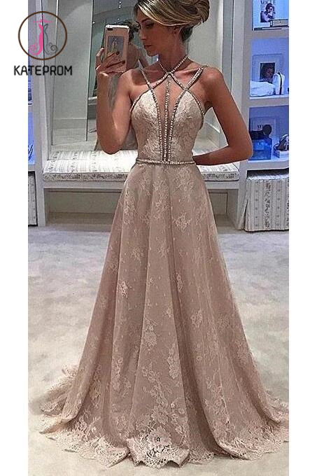 Lace Straps Halter Sleeveless Formal Evening Dress,Deep V-neck Prom Dress With Beading KPP0202