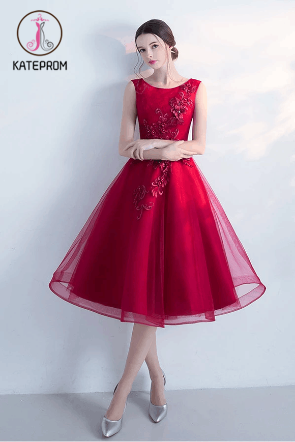 A-line Tulle Sleeveless Homecoming Dress,New Arrival Graduation Dresses With Flowers KPH0103