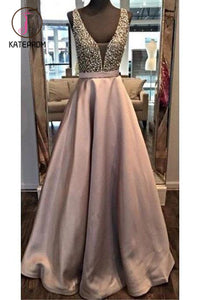 Beading Backless A-line Satin Prom Dresses,Beaded Ball Gowns Long,Formal Dress Long KPP0204
