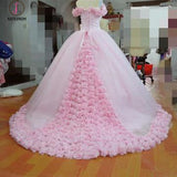 Pink Ball Gown Princess Off-shoulder Hand-Made Flower Wedding Dress,Quinceanera Dresses KPW0144