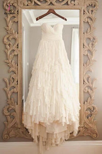 Vintage Beige Strapless Sweetheart Sleeveless Sweep Train Layers Beach Wedding Dress KPW0145