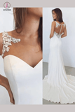 White Sheath Bateau Sleeveless Court Train Wedding Dress with Lace Illusion Back KPW0152