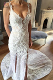 Sheath V-neck Sleeveless Court Train Lace Appliques Bridal Dress,Beach Wedding Gown KPW0162