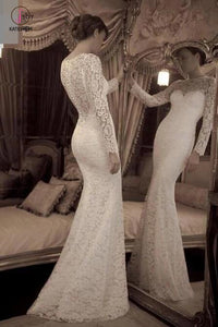 Vintage Ivory Trumpet Long Sleeves Lace Long Beach Wedding Dress,Lace Prom Gown KPW0163