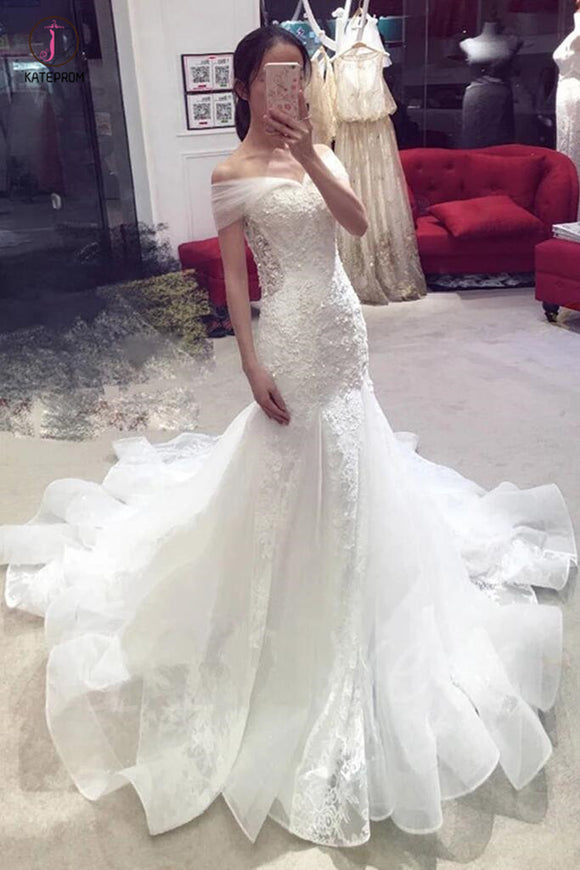 Sexy Mermaid Off-the-shoulder Chapel Train Lace Applique Bridal Dress,Wedding Gown KPW0166