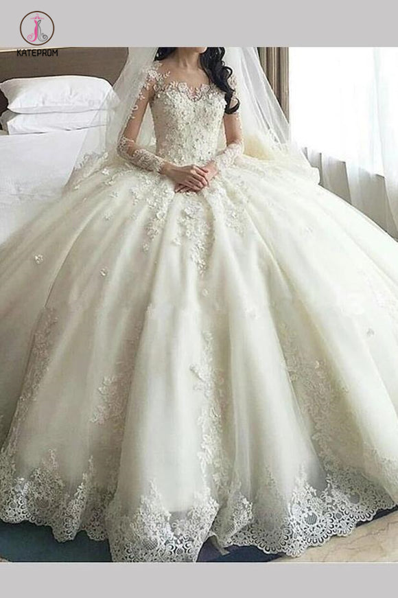 Gorgeous ivory Lace Appliques Long Sleeves Ball Gown Wedding Dress KPW0168