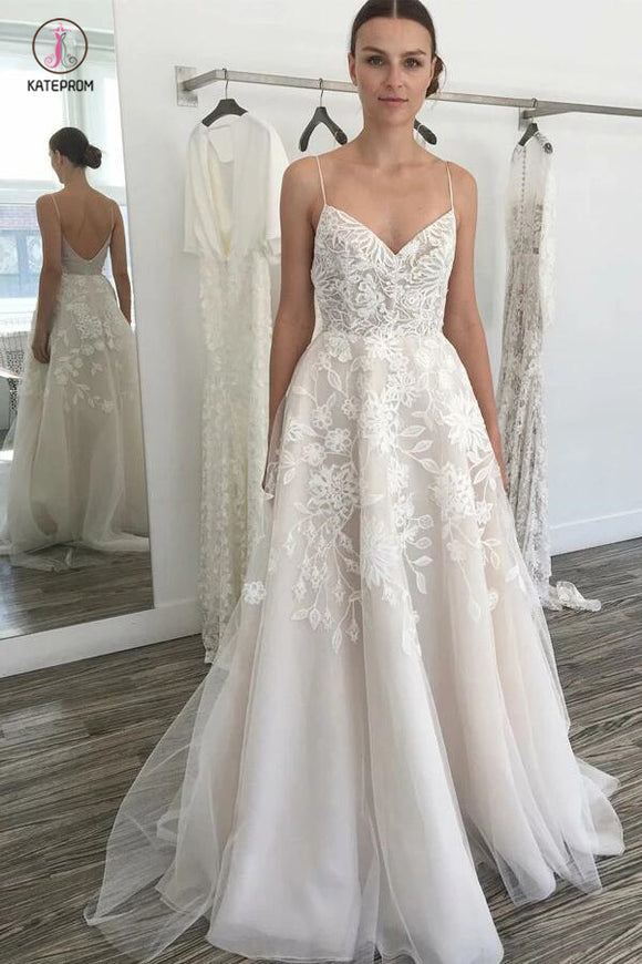 Glamorous A-line Ivory Spaghetti Straps Backless Tulle Beach Wedding Dress with Lace KPW0172
