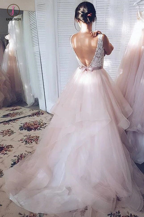 Light Pink V-neck Sleeveless Sweep Train Lace Top Tulle Wedding Dress with Sash KPW0173