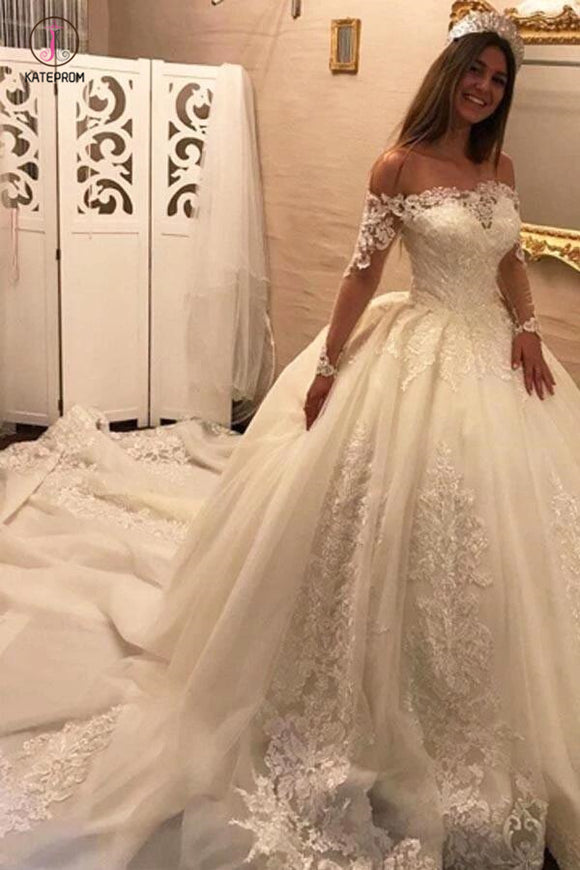 Luxury Off the Shoulder Long Sleeve Ball Gown Chapel Train Appliques Wedding Dress KPW0176