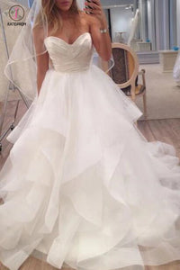 A Line Ivory Sweetheart Strapless Layered Tulle Long Beach Wedding Dress KPW0178