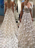 Stunning Deep V Neck Spaghetti Straps Lace Backless Court Train Wedding Gown KPW0180