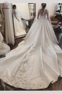 Attractive design Sheer Neck Long Illusion Sleeve Satin Wedding Dress with Applique KPW0184