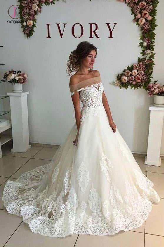 Sexy Ivory Off-Shoulder Sweep Train Wedding Dresses Lace applique Bridal Dresses KPW0186