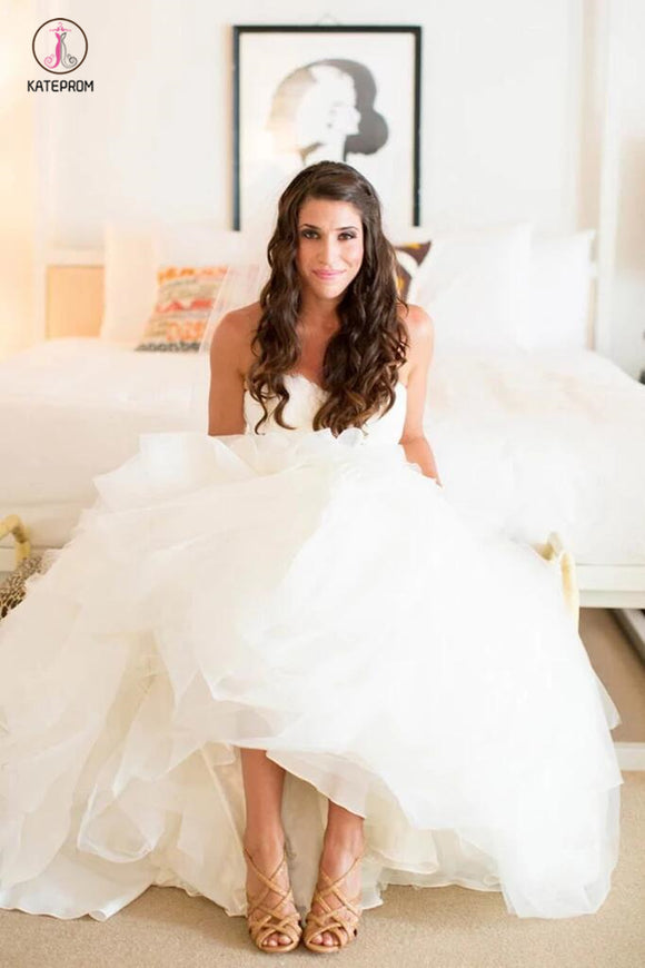 Ivory Sweetheart Long Tulle Wedding Dresses With Ruffles,Beach Wedding Dresses KPW0190