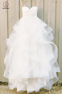 Ivory Sweetheart Strapless Tulle Floor-length Beach Wedding Dresses With Ruffles KPW0192