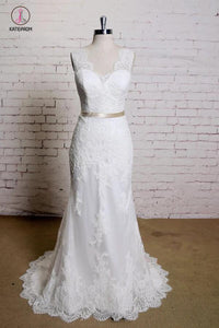 Sheath V Neck Sleeveless Lace Bridal Dress, Sweep Train Tulle Beach Wedding Gown with Sash KPW0197