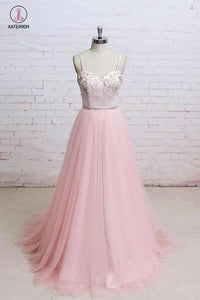 Spaghetti Straps Pink Lace Flora Tulle Sweetheart Backless Wedding Dress,Prom Dress KPW0198