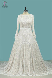 Vintage Long Sleeves Lace Wedding Dress with Sash, A Line Backless Bridal Dress KPW0211